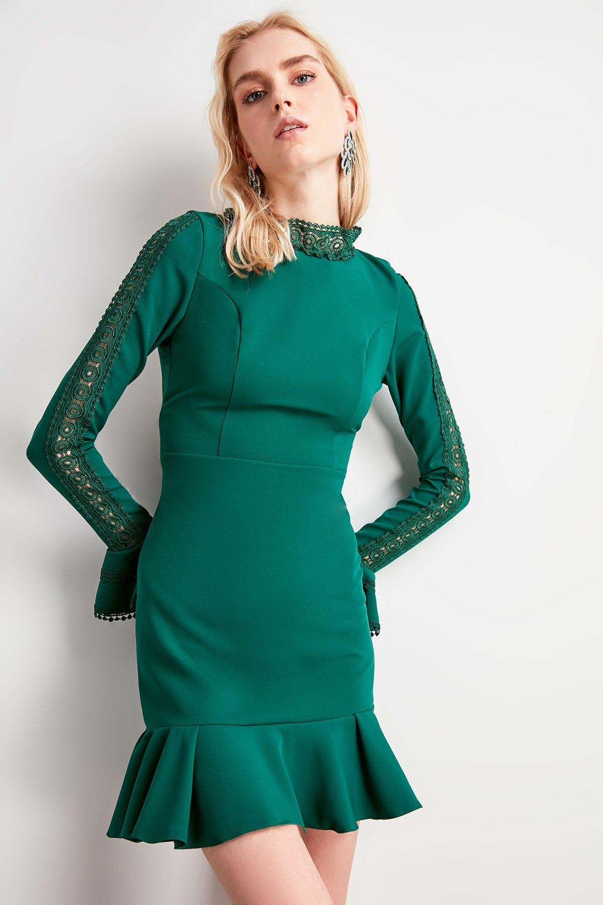 Trendyol Girdle Detail Flounces Dress TPRAW20EL1420