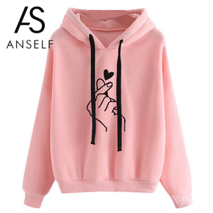 Fashion Women Hoodie Sweatshirts Heart Finger Pattern Drawstring Long Sleeve Ribbed Cuffs Casual Thin Pullover Lady Hooded Tops(China)