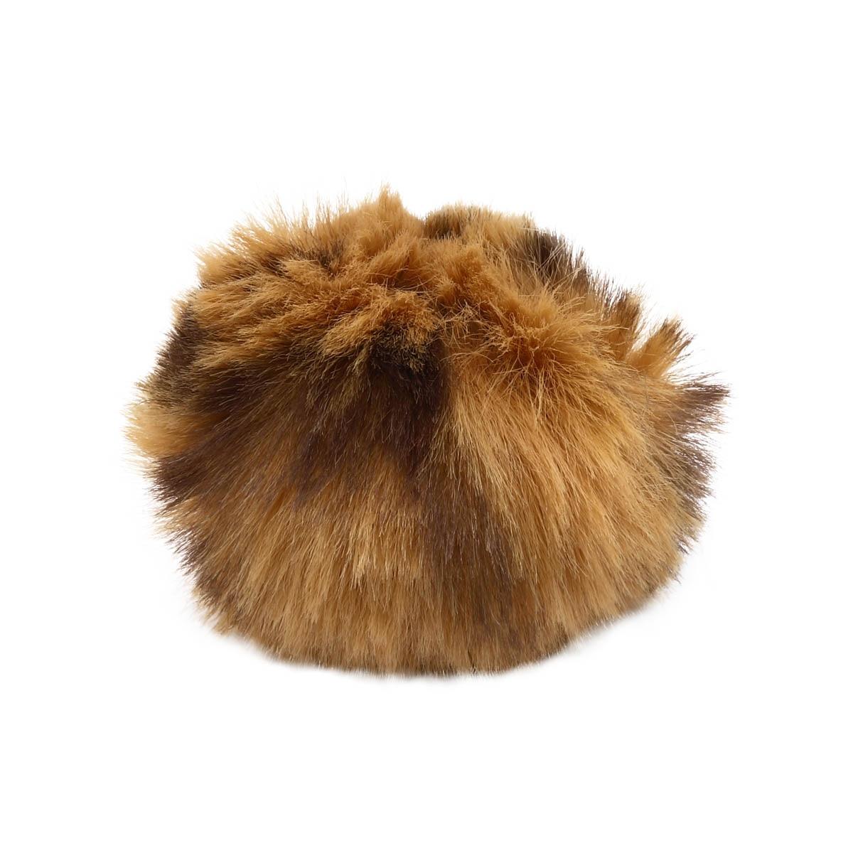 Ar528 Pompon Artificial Fur, Leopard, 5 Cm 2 Pcs/pack (light Brown)