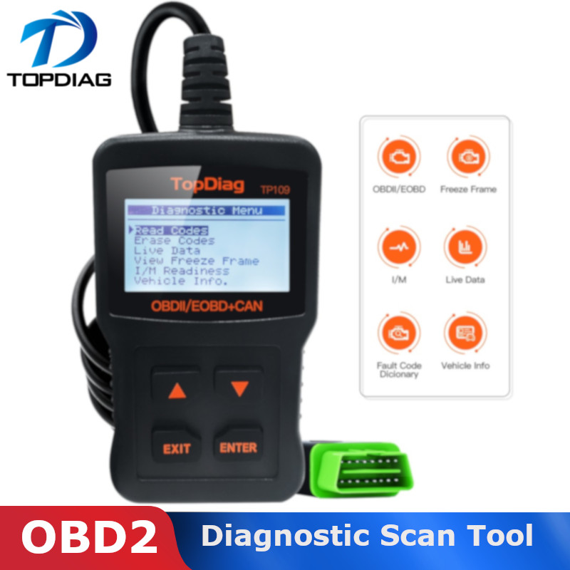 TopDiag 12V Diagnostic Scan Tool Multi Fuction Clear Code Reader OBD2 Scanner Fault EOBD Vechicle TP109 Car Obd2 Scanner