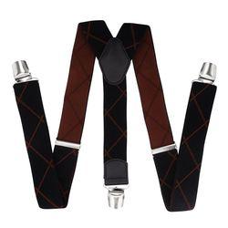 Pantalons bretelles avec clips renforcés (3.5 cm, 3 clips, noir, rouge) 55721