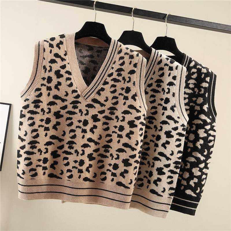 2019 primavera nova camisola de leopardo listrado camisola feminina sem mangas com decote em v pullovers de malha tops pista