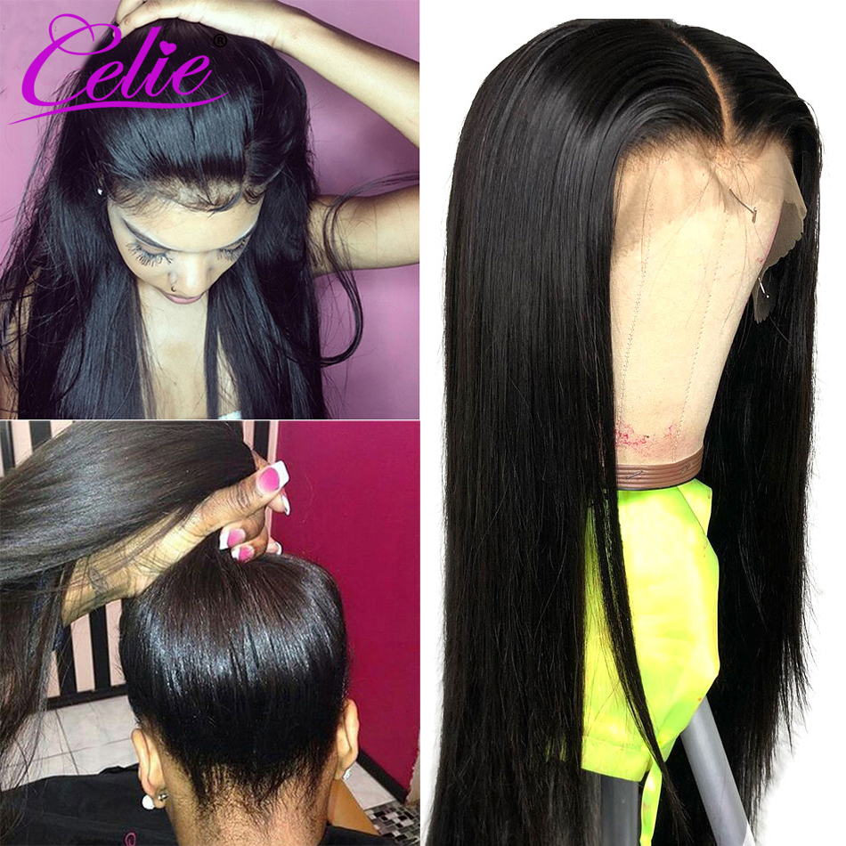 Image 4 - Celie Hair Lace Front Human Hair Wigs Pre Plucked Brazilian Straight Lace Front Wig 150 180 250 Density 360 Lace Frontal Wig-in Human Hair Lace Wigs from Hair Extensions & Wigs