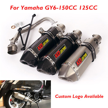 GY6 Motorcycle Exhaust System Muffler Baffle with DB Killer Connection Link Pipe for Yamaha GY6 125cc 150cc alconstar stainless steel motorcycle middle exhaust connect mid link pipe exhaust with db killer for bmw f650gs f700gs f800gs