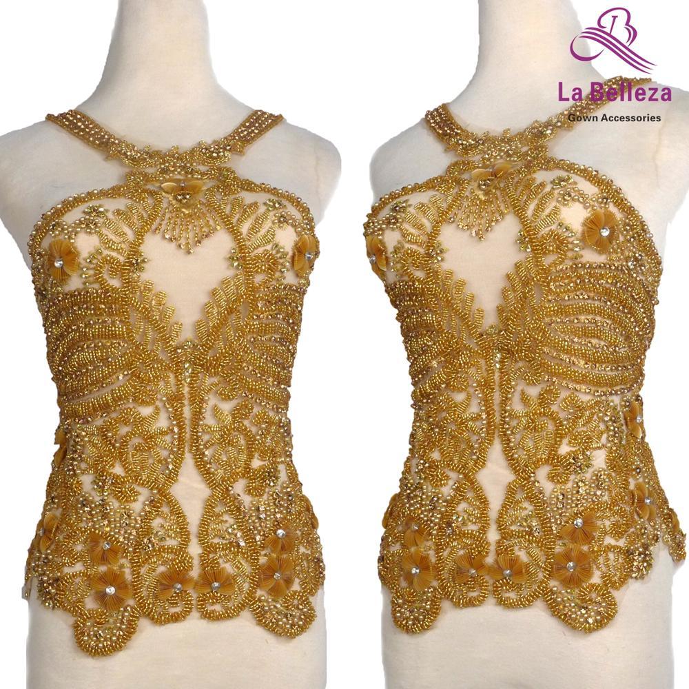 La Belleza Gold beaded patch,beautiful large applique, handmade crystal Rhinestone patch, wedding dress applique accessories