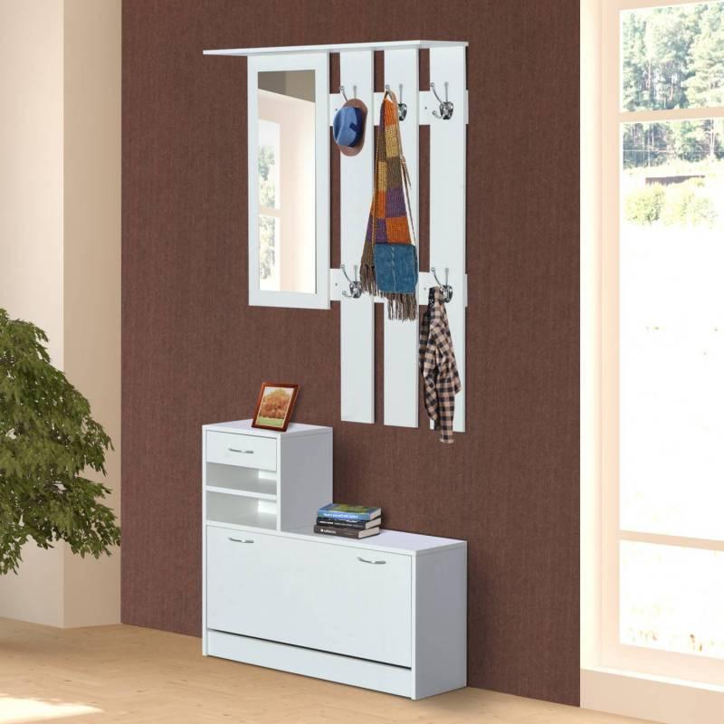 HomCom ensemble meubles d'entrée couloir 2 pièces armoire avec miroir et étagère à chaussures avec tiroir Estanteríaanco