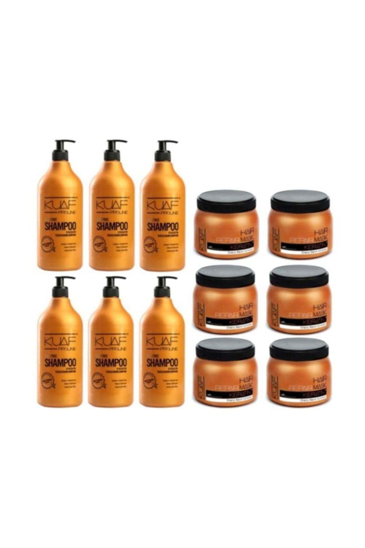 Kuaf Tuz Içermeyen Bakım Şampuanı 1000 Ml X 6 Adet + Profesyonel Keratin Maskesi 500 Ml X 6 Adet
