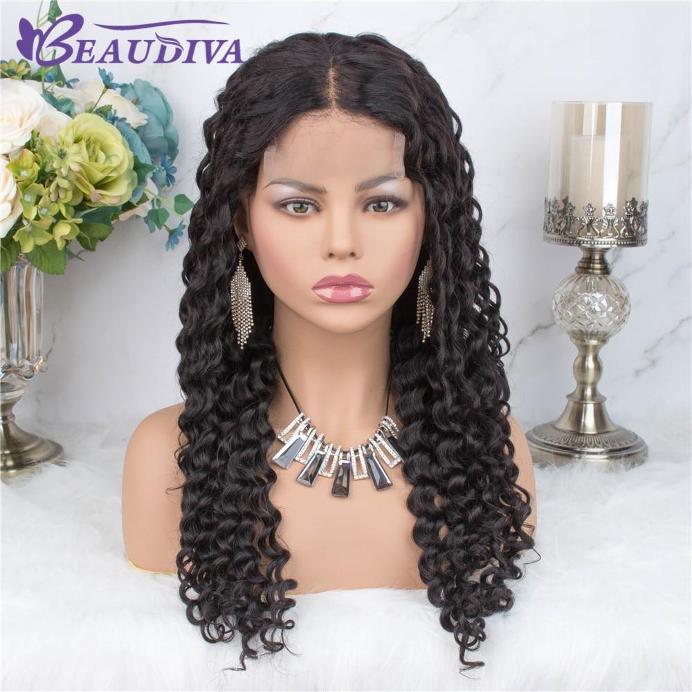 Onda profunda encaracolado peruca de cabelo humano 4*4 fechamento do laço peruca brasileira onda profunda perucas do laço para perucas de cabelo humano feminino