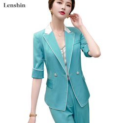 Lenshin 2 Piece Set Half Sleeve Stripe Pant Suit Summer Wear Contrast Collar Office Lady Designs Women Blazer and Pant