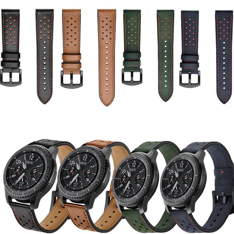 Correa de piel auténtica de 22mm para Samsung Galaxy watch Huawei watch Gt 2 46mm Gear S3 Frontier/Classic Amazfit Pace1 2, correa para reloj Vendaje de consolador con correa de cuero PU, arnés con correa Ultra flexible, consolador con correa, juguetes eróticos pareja, producto sexual para adultos O35