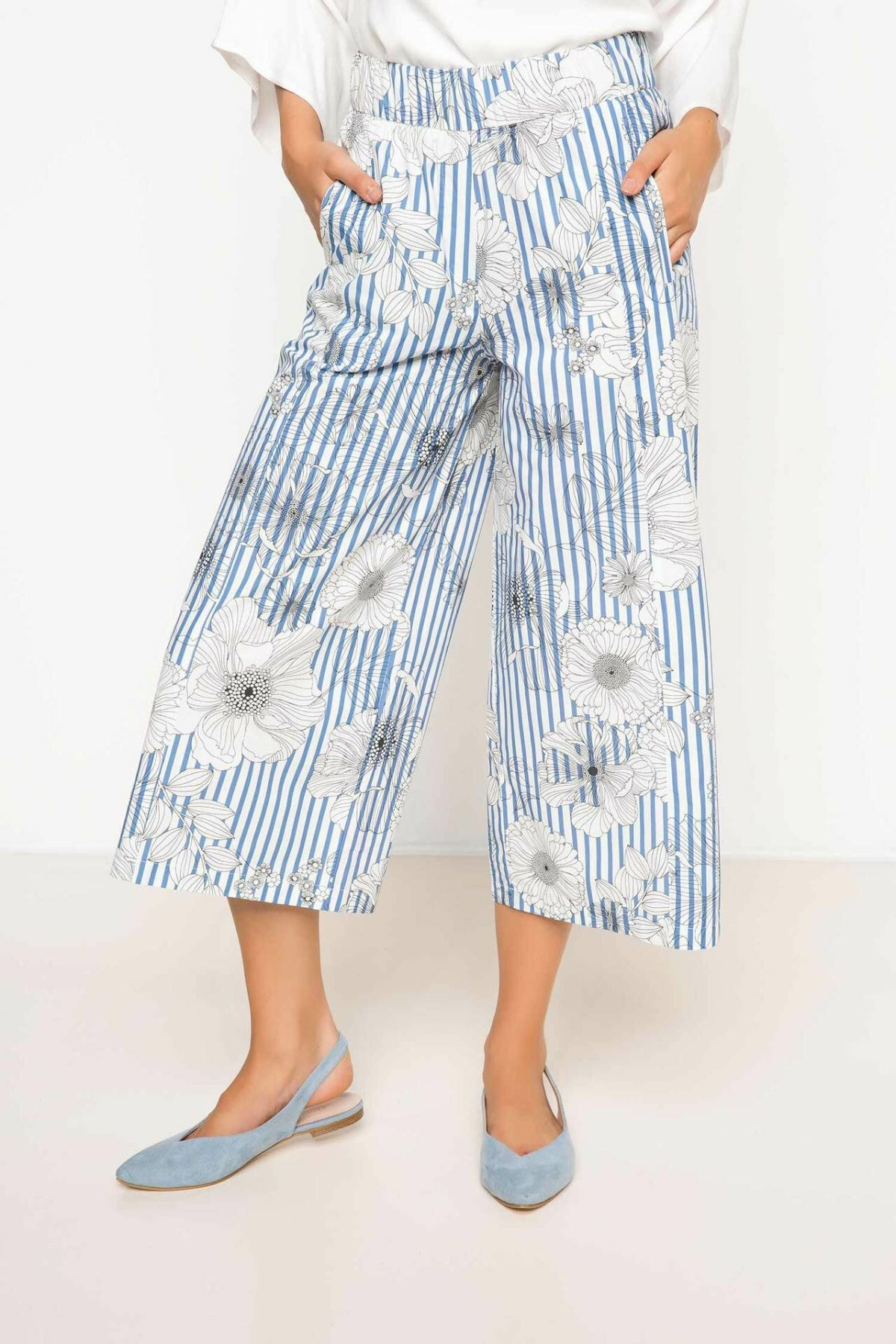 DeFacto Loose Striped Flowers Trousers Female Casual Comfort Crop Pants High Qualilty Loose Wide Leg Pant Ladies -I1706AZ17AU