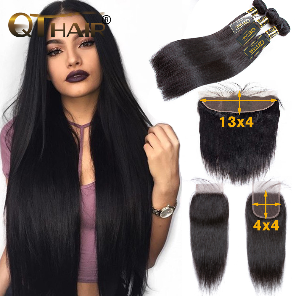 QT Hair Straight Hair Bundles With Closure Human Hair Weave Bundles With Frontal Brazilian Remy Hair 3 Bundles With Closure