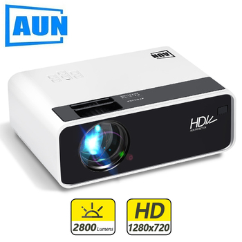 AUN HD Mini Projector D60/S 1280 x 720P,LED Android WiFi Projector Video Home theater 3D, Full HD Projector for Cinema buianuwod g08 home theater projector 480p 720p led 150 full hd 1080p wifi android bluetooth proyector support ac3 dolby sound