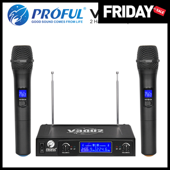 PROFUL V3002 VHF Wireless Microphone System with 2 Handheld Cordless Mic for Speech Karaoke Microphone g mark g210v wireless microphone 2channel vhf microphone professional handheld mic for party karaoke church show meeting