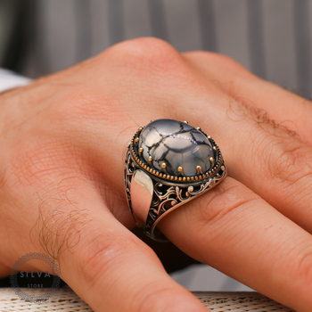 Agate Aqeeq 925 silver men's ring. Men's jewelry stamped with silver stamp 925 All sizes are available