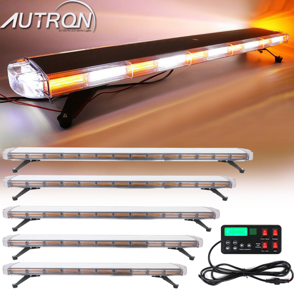 "Strobe Light Bar 47"" 55"" 63"" COB LED Emergency Warning Flashing Signal For Tow Plow Truck Wrecker Amber White"