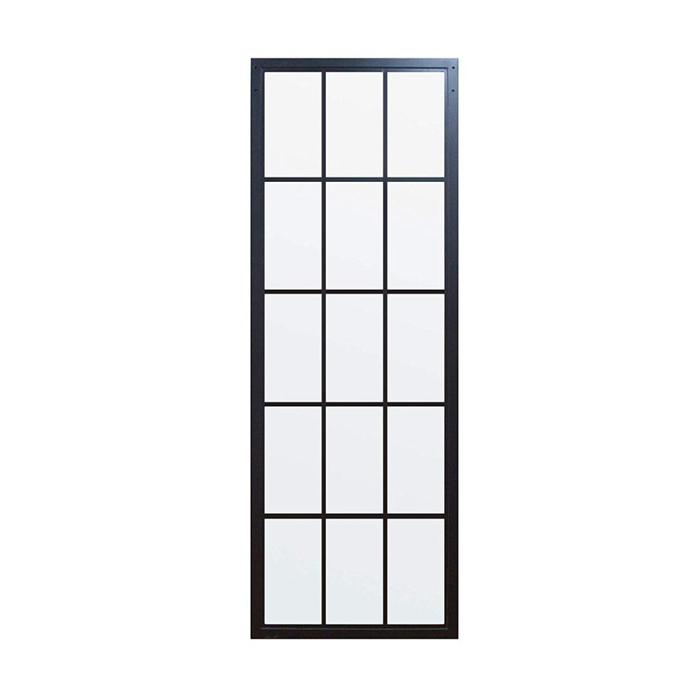 DIYHD Black Framed Clear Glass Sliding Barn Door Slab,Tempered Glass Door Panel