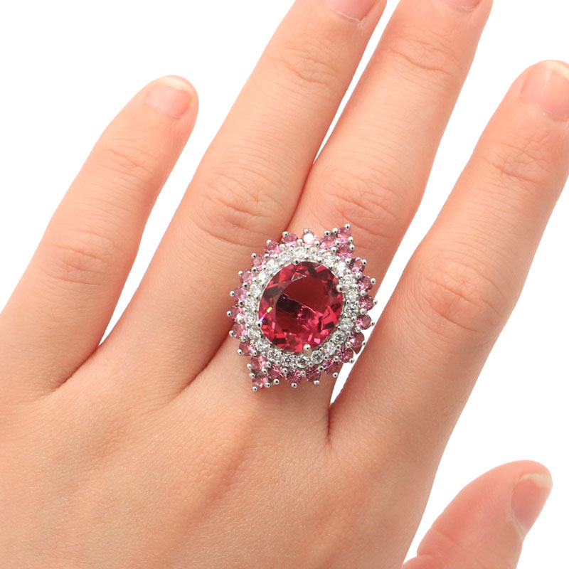 28x22mm Beautiful Created Pink Tourmaline Natural White CZ Ladies Party Silver Rings