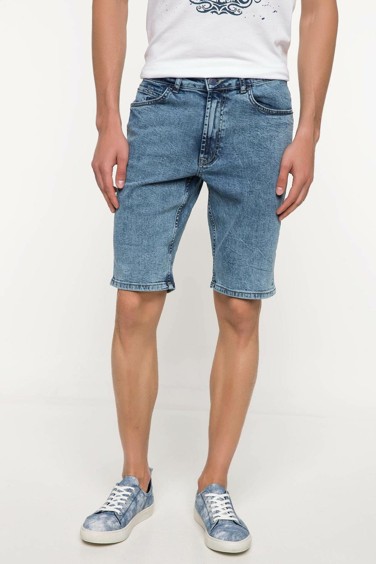 DeFacto Man Summer Denim Shorts Men Casual Straight Denim Short Pants Male Light Bluse Denim Bermuda-I6165AZ18SM