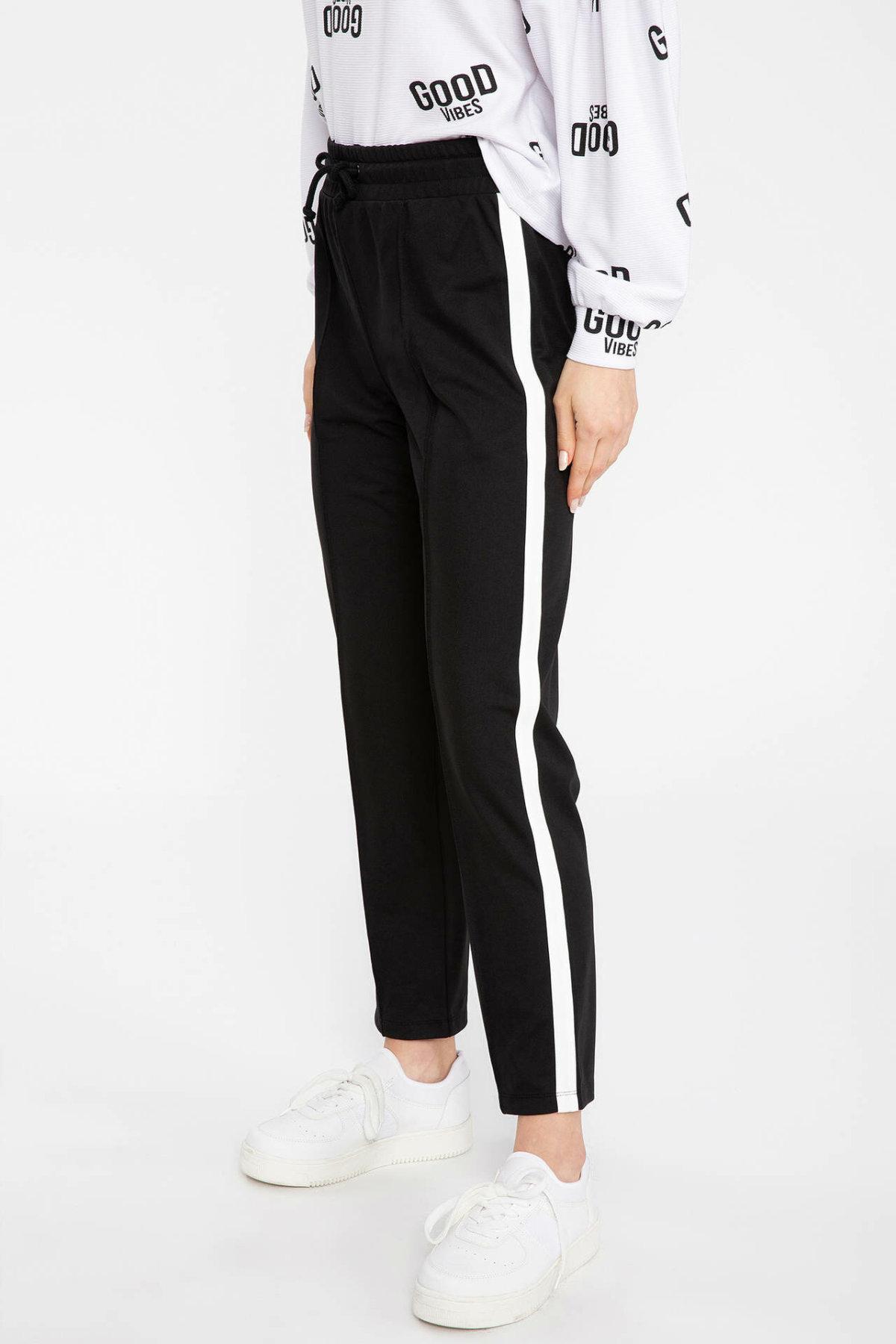 DeFacto Fashion Women Casual Jogger Pants Female Loose Drawstring Sweatpants Solid Sports Crop Trousers Lady- K8111AZ18CW