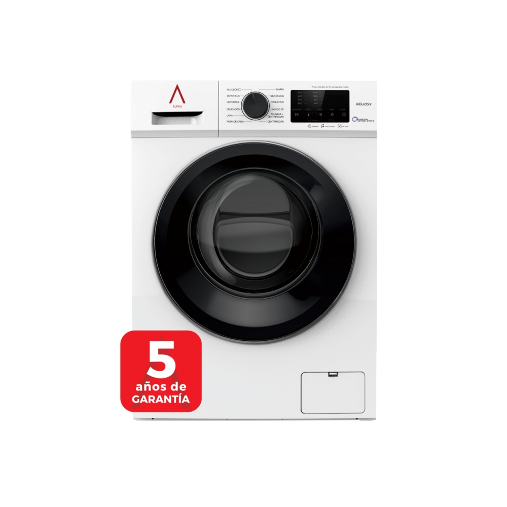 ALPHA Washing Machine HELIOS8, White, 8 Kg, 1.200 Rpm, Door XXL, Digital Engine Drive, TO +++, * * High-End **