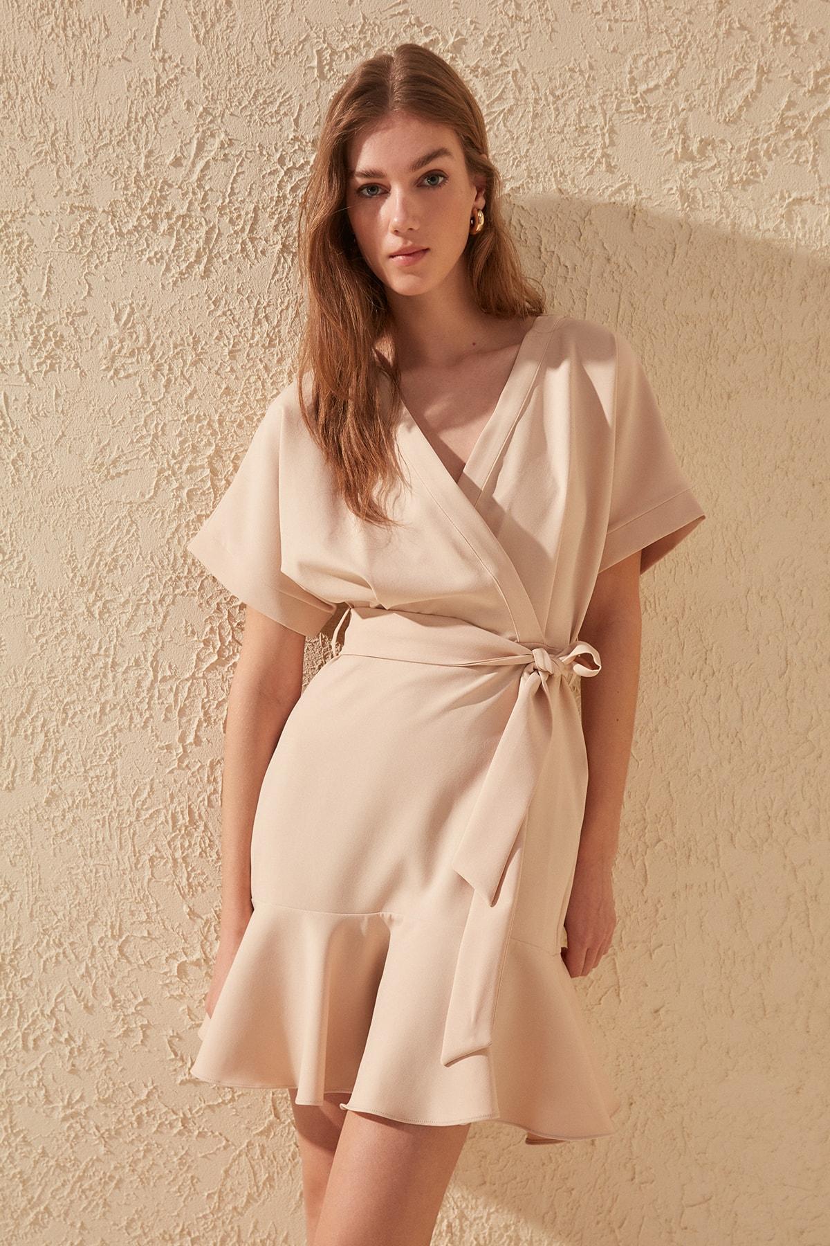 Trendyol Belted Kleid TWOSS20EL0944 Kleider    - AliExpress