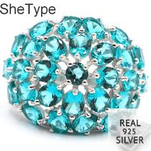 25x20mm SheType 6.36g Created Rich Blue Aquamarine Gift For Girls Real 925 Solid Sterling Silver Rings