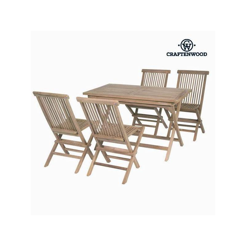 Table Set With 4 Chairs Teak Rectangular By Craftenwood