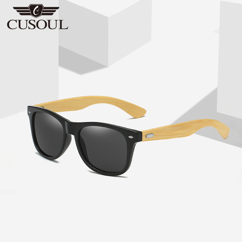Cusoul Men Sunglasses TAC Polarized Sunglasses Retro Bamboo Temple Sunglasses Outdoor UV Protection Sunglasses Polarize Lens