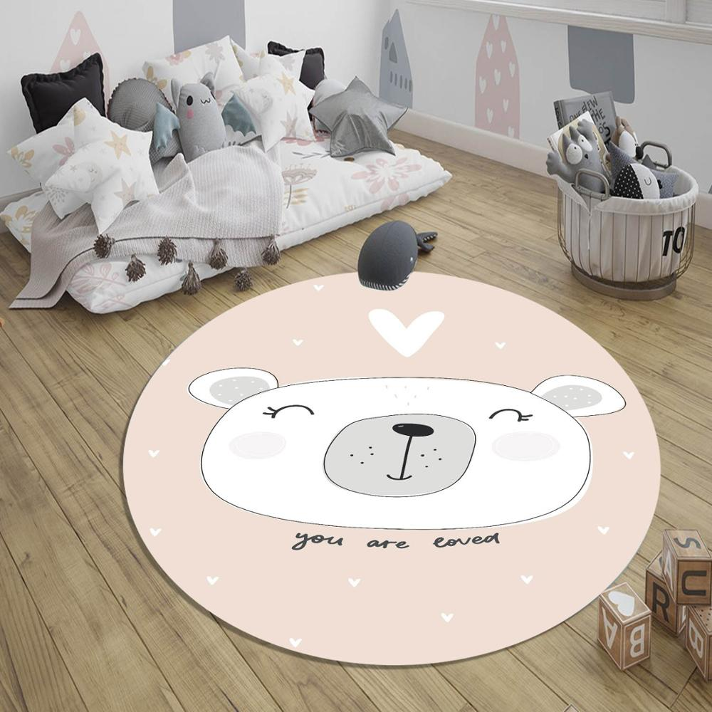 Else Pink White Cute Bear Girl Nordic 3d Print Anti Slip Round Floor Living Room Area Carpet Rug For Kids Baby Children Bedroom