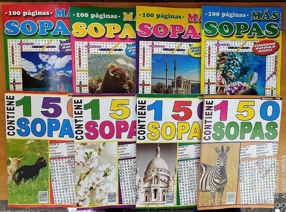 Soups of letters. (Pack of 8 volumes of 100 pages) with numeric soups and large letter for the enjoyment of letter soups