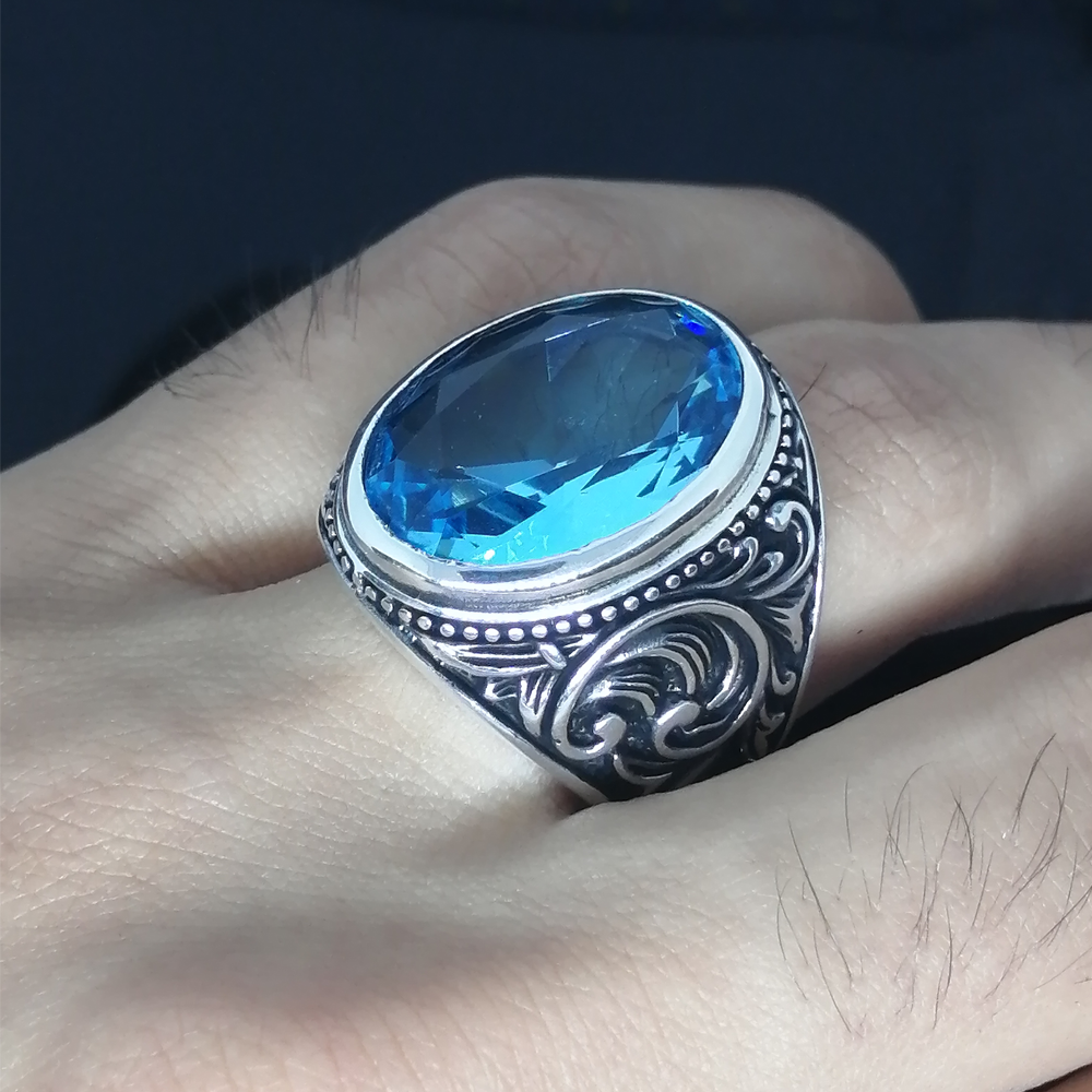 Sterling Silver Ring 925 With Stone For Men For Women Aquamarine Gemstone Gift For Him Men's Rings Handmade - Turkish Jewelry