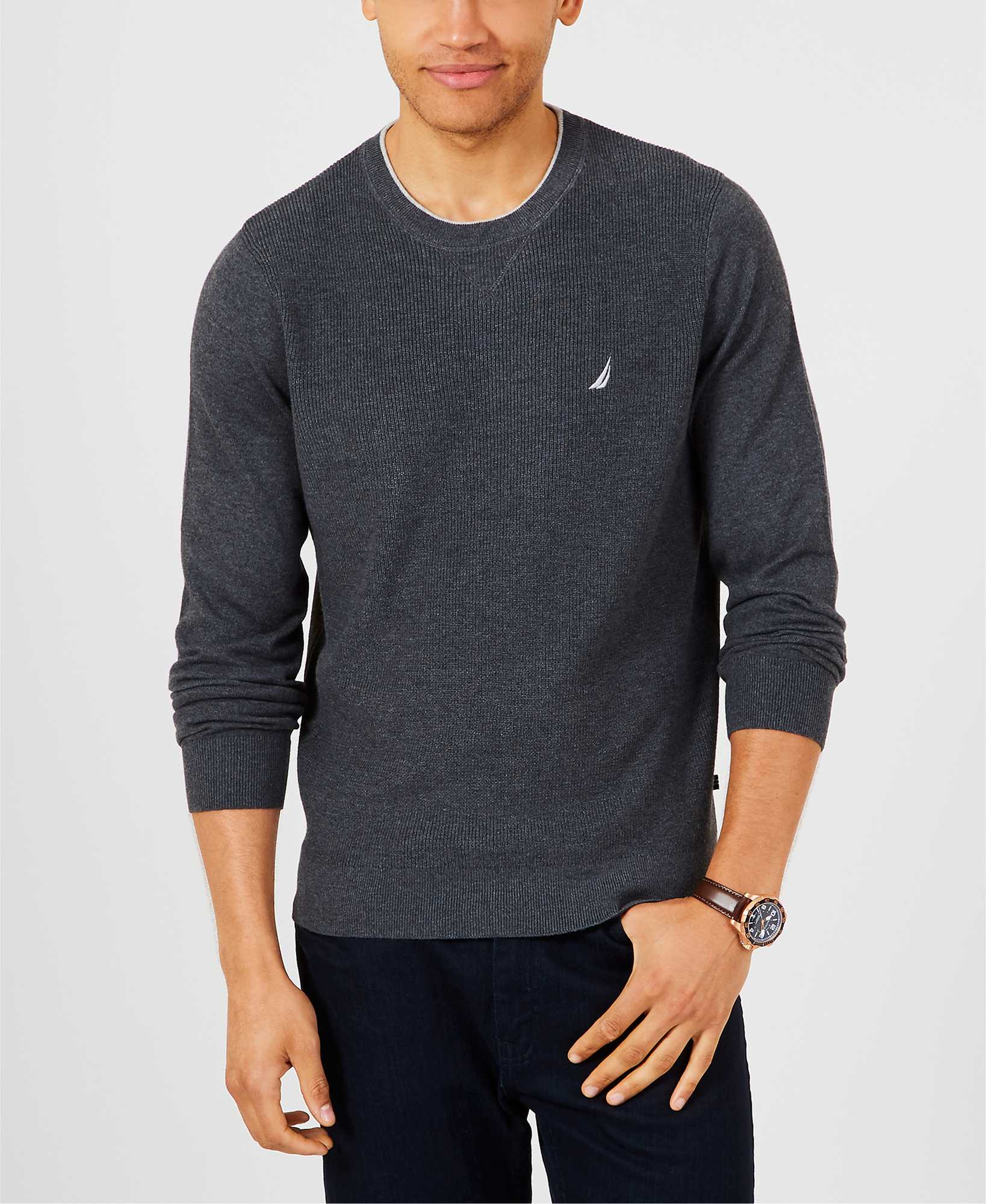 Nautica Sweater Men Knitted Cotton Chest Logo Color Dark Grey S83101.00E