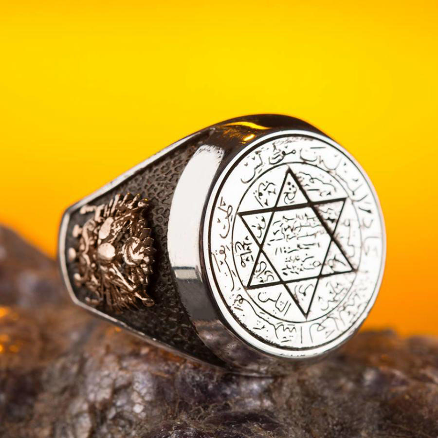 925 Sterling Silver Seal of Solomon Men's Ring with Ottoman Crest and Moon Star Solomon's Seal Ring for Men()