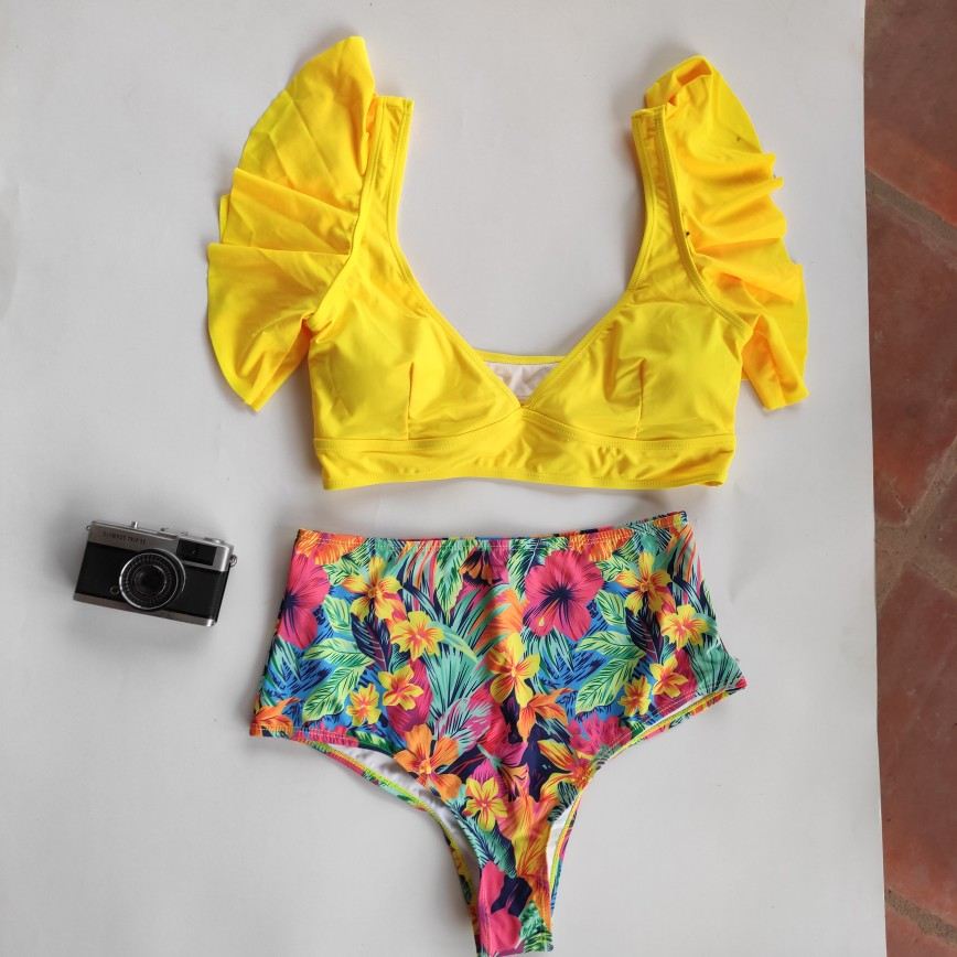 Floral Ruffled Hem Bikini Set Women Flora V neck High waisted Two Piece Swimsuit 2021 Girl Beach Bathing Suit Swimwear Biquinis|Bikini Set|   - AliExpress