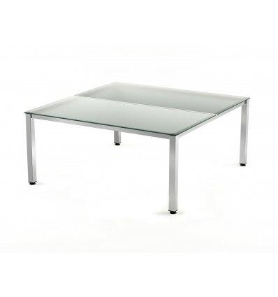 OFFICE TABLE DOUBLE EXECUTIVE SERIALS 180X163 CHROME/CRYSTAL