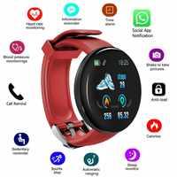 2019 nuevo reloj inteligente Bluetooth pulsera de fitness para hombres, reloj inteligente redondo de presión sanguínea para mujeres, rastreador deportivo impermeable, WhatsApp para niños