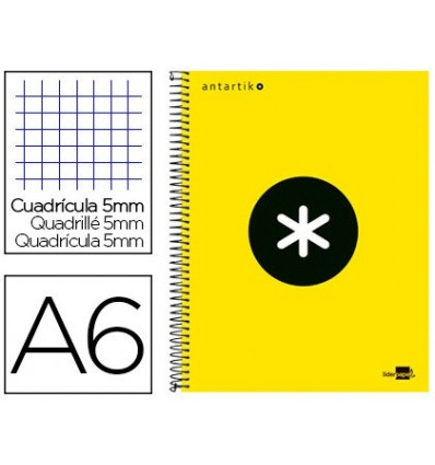 SPIRAL NOTEBOOK LIDERPAPEL A6 MICRO ANTARTIK LINED CAP 100H 100 GR TABLE 5 MM 4 BANDS COLOR YELLOW 2 Units