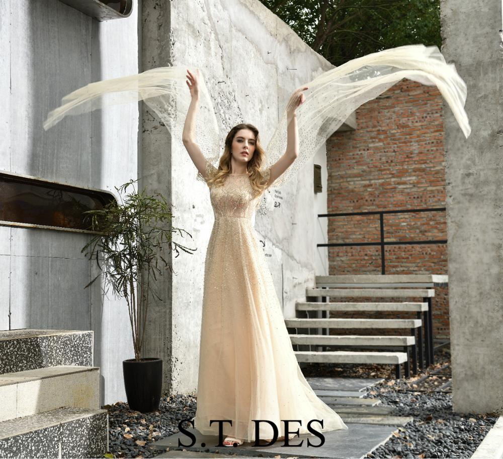 NEW 2020 St.Des A-line Champan Russian Long Sleeve Grey Elsa-Frozen Sequins Designer Floor Length Evening Dress Party Dress