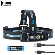 Светодиодный налобный фонарь WUBEN H1 с зарядкой от USB, 1200 лм, 10 режимов, IP68, водонепроницаемый налобный фонарь для кемпинга, бега