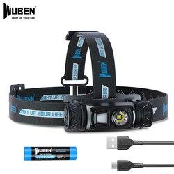 WUBEN H1 LED Headlamp USB Rechargeable Flashlight 1200 lumen 10 Modes IP68 Waterproof Head Lamp for Outdoor Camping Running