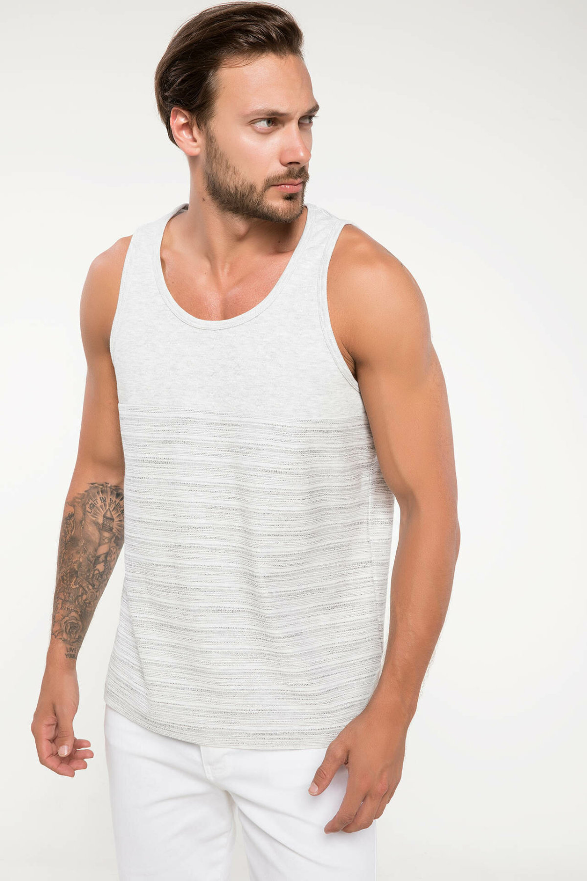 DeFacto Man Summer Casual White Tank Tops Knitted Sleeveless Cotton Breathable Loose Top Striped Tees - I8737AZ18SM