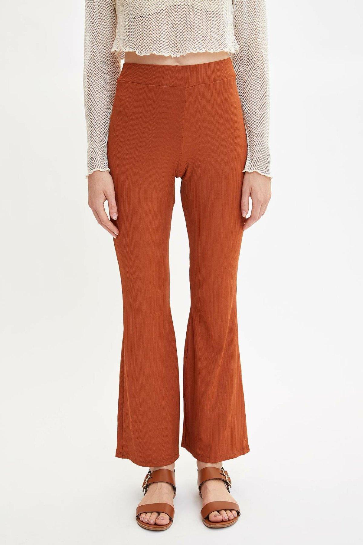 DeFacto Woman Spring Fashion Wide-leg Pants Women Chic Orange Color Fit Long Pants Female Elastic Trousers-M0400AZ19SP