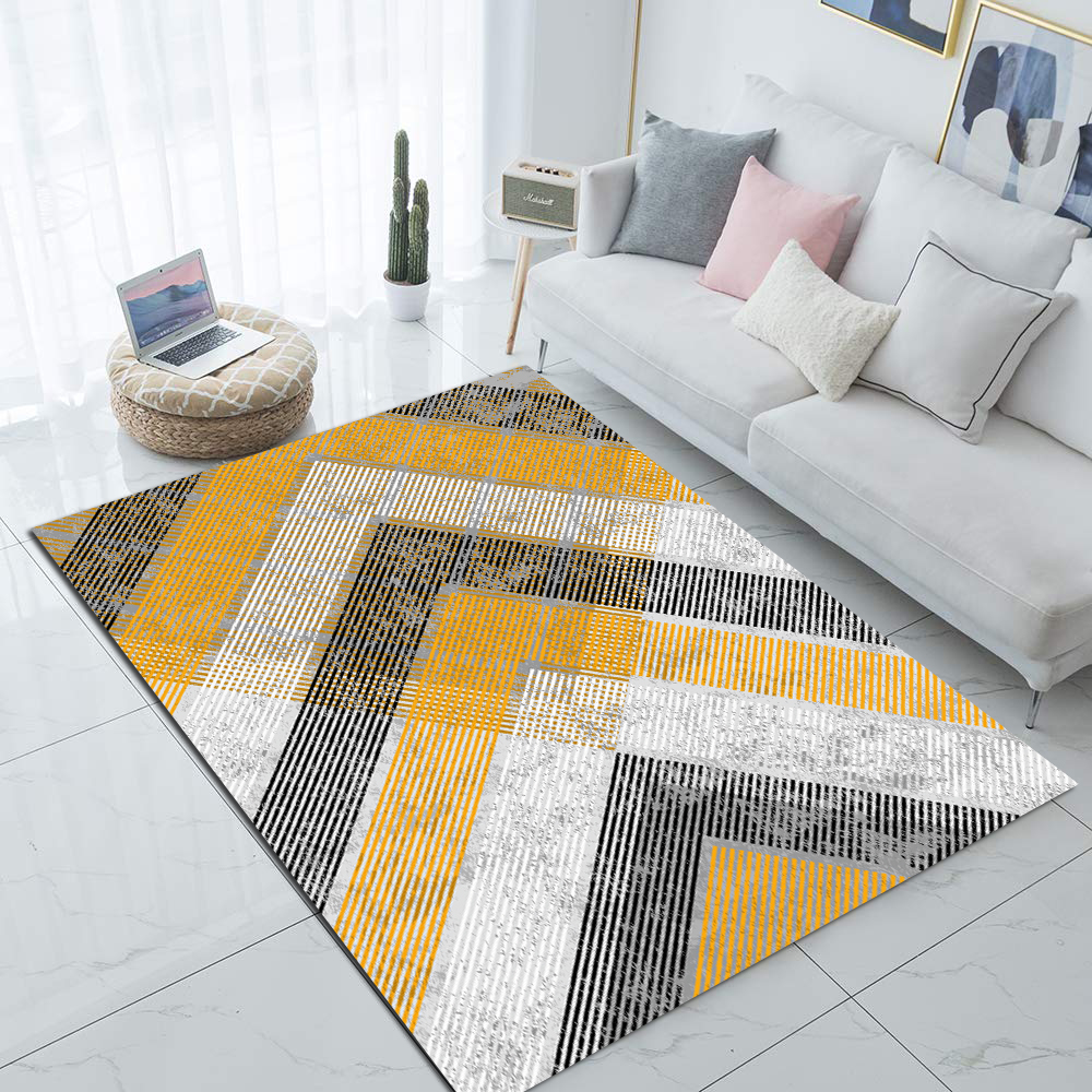 Else Gray Yellow Geometric Arrows Nordec 3d Print Non Slip Microfiber Living Room Decorative Modern Washable Area Rug Mat