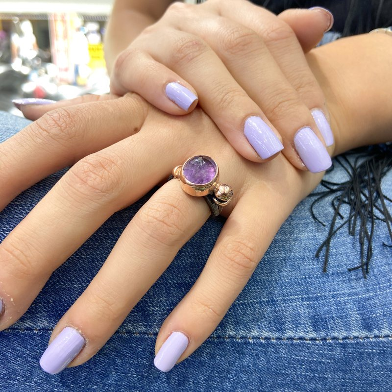 Hand Production Custom Design Amethyst Gemstone Silver Ring