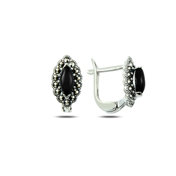 Silver 925 Sterling Marcasite & Natural Stone Earrings