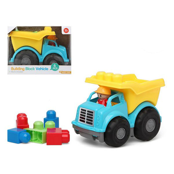 Lorry With Building Blocks 114607 Blue Yellow (6 Pcs)