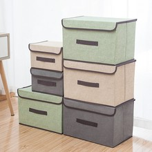 S/L Cotton And Linen Clothing Organizer Storage Box With Cap Dust-proof Wardrobe Organizers For Sundries Toys Boxes Bins