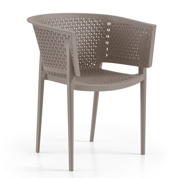 Armchair BILL, stackable, polypropylene tórtora