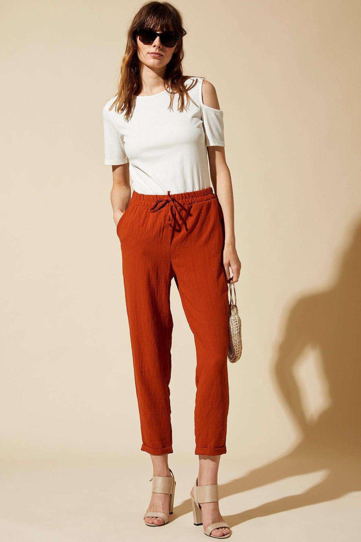 DeFacto Woman Adjustable Chiffon Pants Casual Solid Color Cargo Pants Women High-waist Bottoms Trousers-L8568AZ19SM